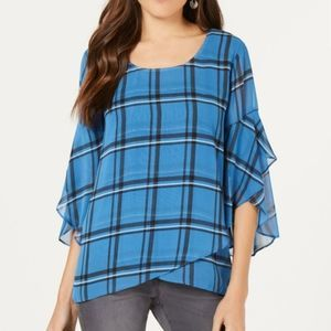 Style & Co Blue Plaid Bell Sleeve Sheer Top M